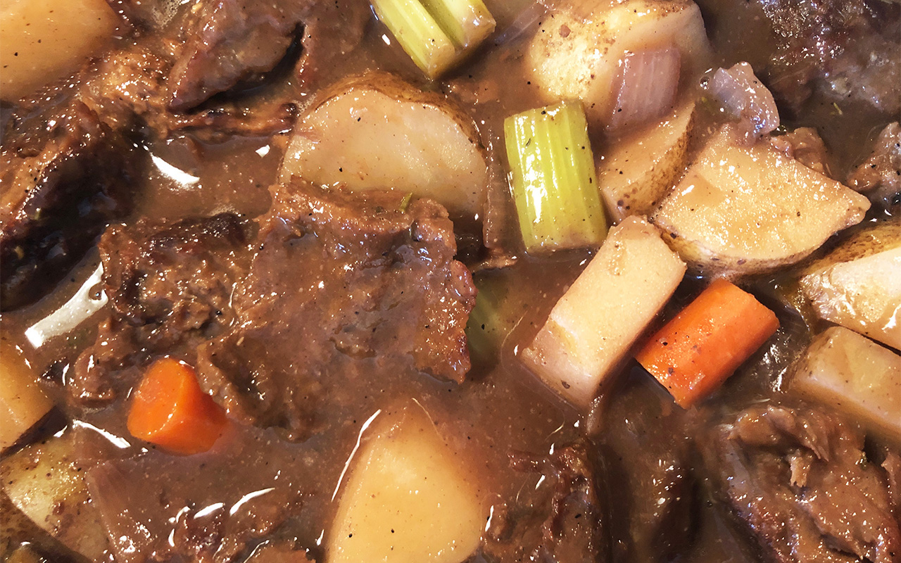 Beef-less stew made with vital wheat gluten