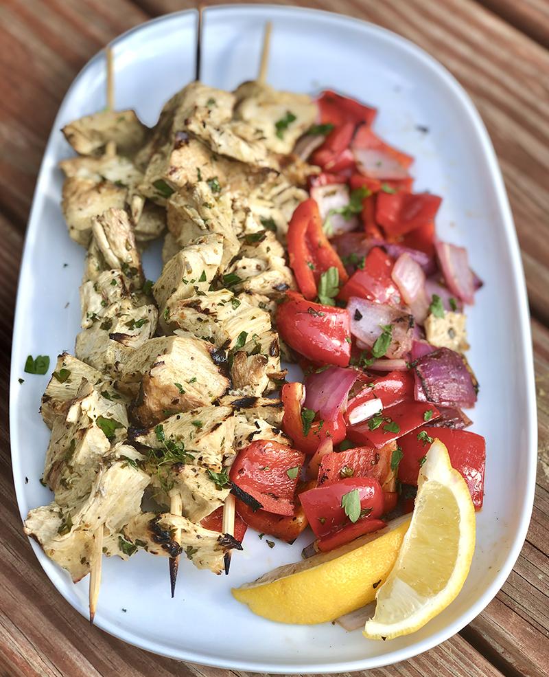 Vegan Chicken Souvlaki Platter
