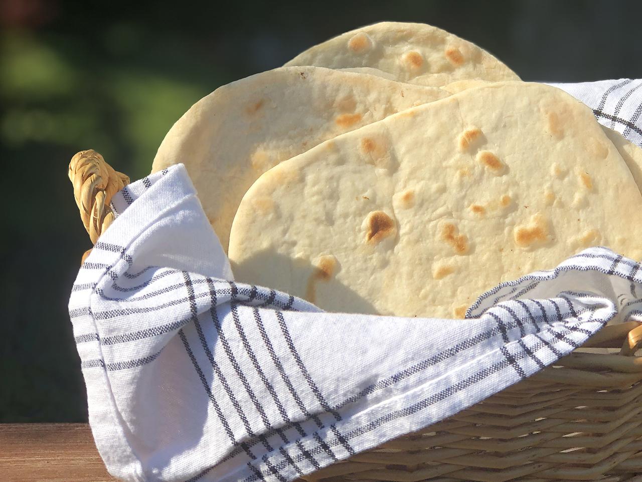 vegan flat bread in a basket