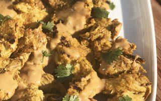 vegan chicken satay with peanut sauce